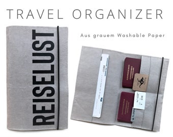 Grey Travel Case from Washable Paper | TRAVEL LUST | Travel Organizer Case | Document Folder | Vegan Leather | Travel Case Passport Cover | Gift