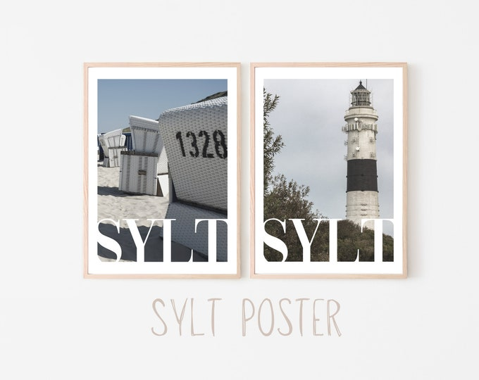 SYLT Poster | Beach | Summer | Wave | Sea | Dune | Stand | Lighthouse | maritim | Pictures | Wall Decoration | Beach