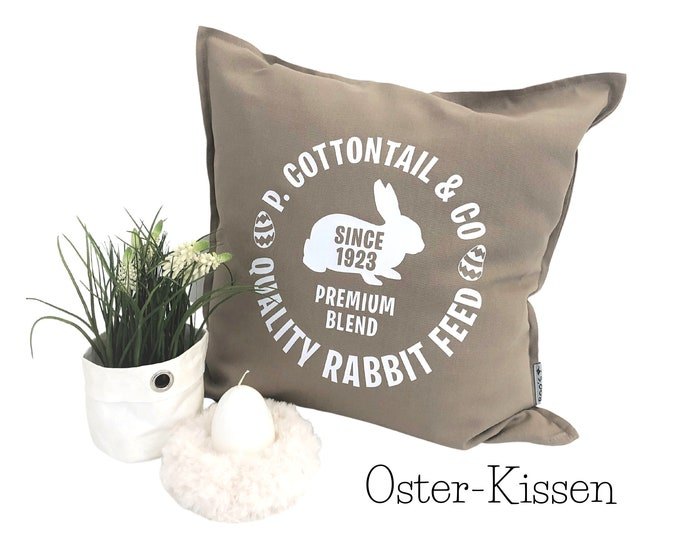 Sand-coloured pillow | Easter motif | Pillow cover | Typeface with bunny | Cotton | Skandi Design | Hygge Boho Easter Decoration | Decoration Pillow