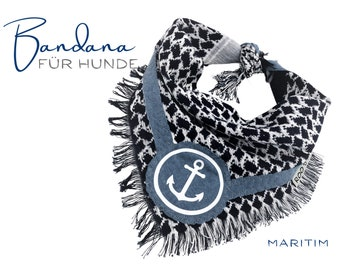 Maritime Dog Neck scarf | Anchor | Bandana | Triangle cloth for binding | blue white | | frayed Fransen | Size S/meter