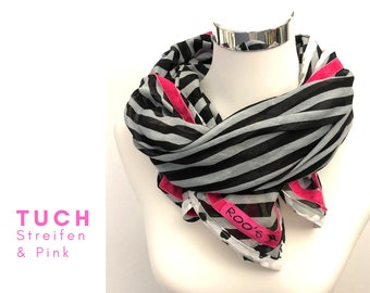 Trendy Boho-style cloth | black-beige striped with pink velvet ribbons camouflage edge | Einzelstück