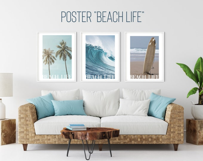 Beach Poster   Beach Life   Summer   Wave   Sea   Surfboard   Palm trees   maritim   Surfer   Diver   Pictures   Wall Decoration