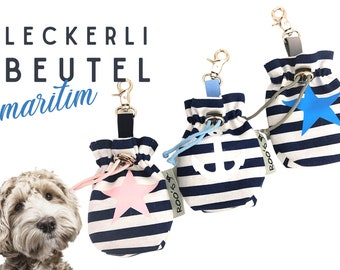 Blue white striped treat bag | Anchor Star | Feeding bag | for dogs | with carabiner | washable | lined | Animal gift