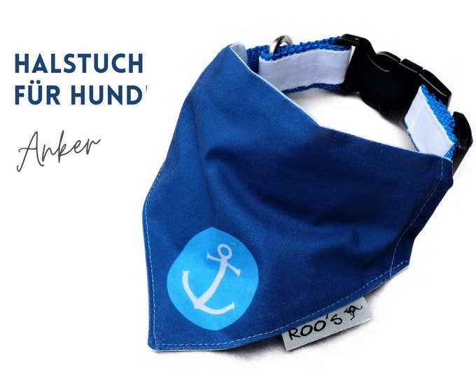 Maritime dog collar with anchor | dark blue with turquoise | Cotton Dog Bandana | is attached to the collar