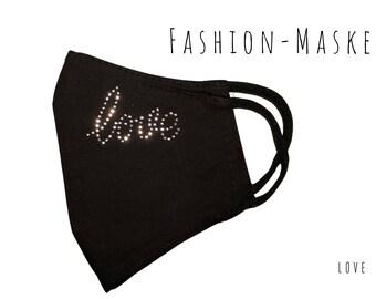 Black Mask | Love | Rhinestone | Fabric Mask | Mouth covering | Face Mask | Glitter Mask | Love | Font | Statement