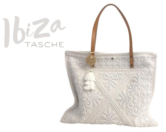 "White cotton bag ""Ibiza"" | BOHO Beach Bag | Bag | Shopping bag | Beach bag | Bast pendant | Tassels | Leather handle | Leather"