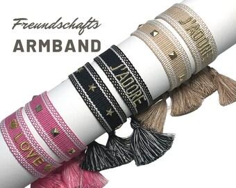 Canvas Bracelet in set of 2 | J'Adore | Love | Rivets | Statement Web Bracelet | Boho bracelets with rivets | pink, beige black with gold