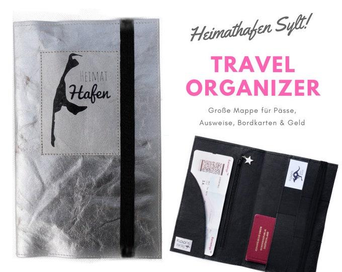 Sylt Travel Case | Travel Organizer | Silver Washable paper | Travel Documents | Document Folder | Traveller | Travel Envelope | Passport | Map