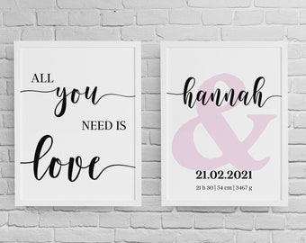 Birth Poster Set | All you need is love | Print | Individualized | Gift Birth | Baptism Gift | Baby Poster | Nursery | 2 pictures