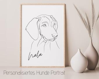 Dogs Portrait | One Line Art | Digital Print | Custom image | Animal portrait after photo | Desired colour | Name | Boho Sckandi Style