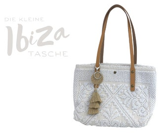 "Small white cotton bag ""Ibiza"" | BOHO Bag | Bag | Handbag| Bast pendant | Tassels | Leather handle | leather"