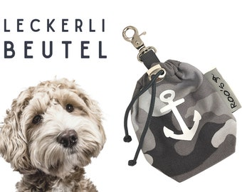 Grey Treat Bag | Anker Camouflage | Feeding bag | Dogs | with carabiner | washable | lined | Animal nutrition | Gift