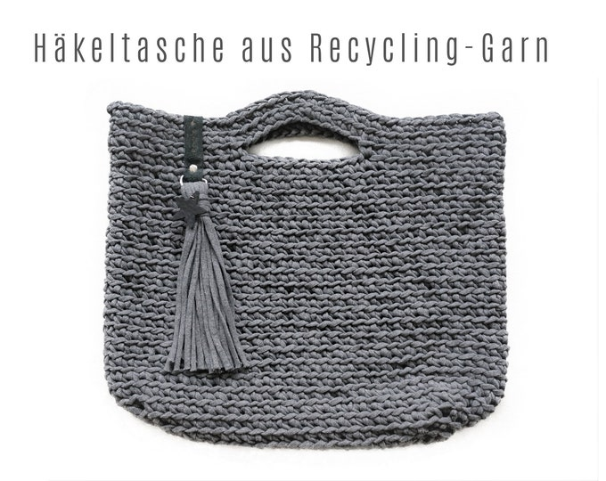 Grey crochet bag | Recycled Yarn | with tassel and leather star | a sustainable recycling product for environmental fans