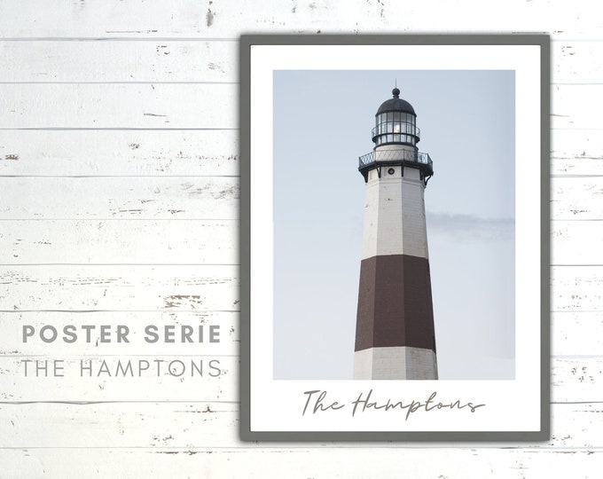 The Hamptons Poster | Lighthouse | Beach | Sea | Beach Life | maritim | Pictures series | Wall Decoration | Coastal Style | Montauk Long Island