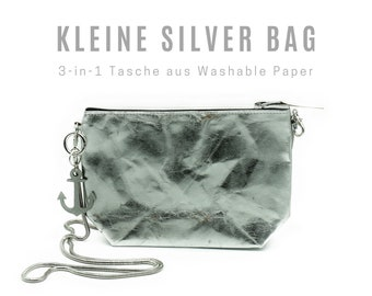 Small silver bag from Washable Paper | Shoulder bag | Crossbody Bag | Cosmetic bag | Clutch | Keychain | 3-in-1 Bag