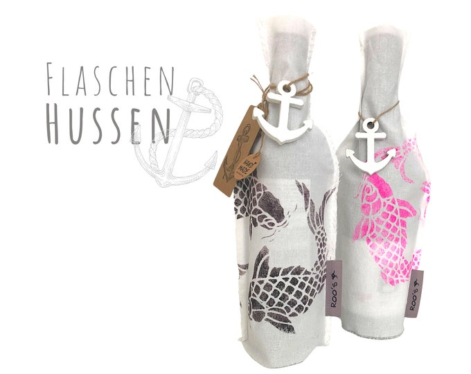 Gift wrapping for bottles | Bottles of Husse | Fabric coating for wine bottle | printed fish