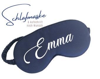 Dark blue sleep mask   Pure silk   Customizable     your desired text Gift Valentine's Day Wedding   noble sleeping glasses