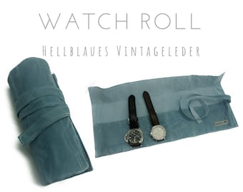Blue 6 Series Watch Roll | Vinatge leather | Gift for Men | Wristwatches Roll 6 watches | Travel Watches Case | Watch roll