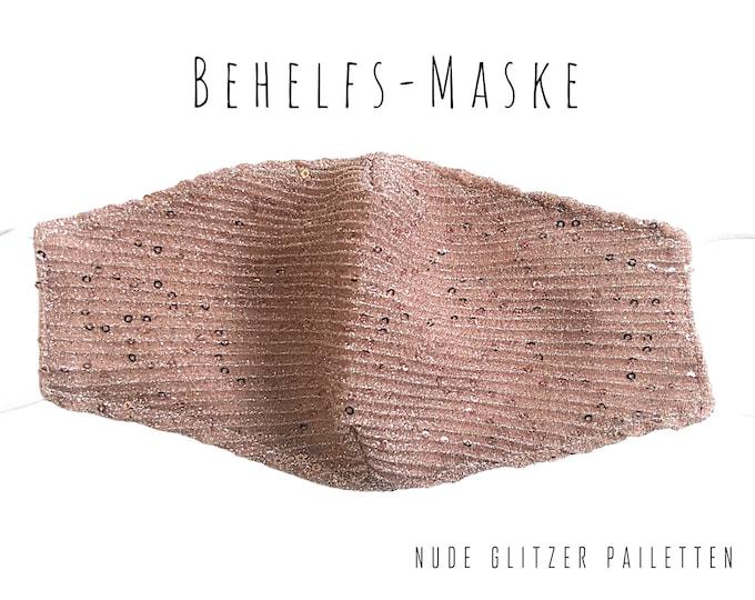 Nude Glitter Sequin Mask | bright pink | Mouth Nose Mask | Fashion Mask | delicate powder shade | Glitter Mask | Makeshift Mask