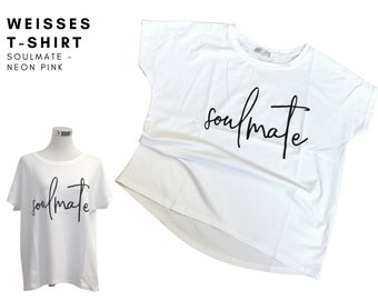 SOULMATE   White T-shirt with large font in black   Statement Shirt   straight oversized cut   One Size