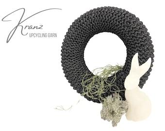 Black silver wreath | knitted | elastic textile yarn | Easter decoration | 30 cm | Windlight wreath | Easter | silver grey | Black