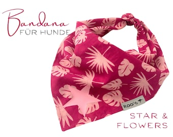 Dogs neck scarf | Bandana | Triangle cloth | for binding | fuchsia pink pink | Stern | BOHO Style |  Cloth scarf collar | Floral pattern | Gr. L
