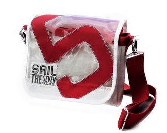 Nursery bag   Sail   small bag   Upcycling   white red   transparent   Window   Five   Shoulder bag   Handbag   Sailing bag