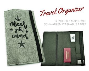 Felt Travel Case | Travel Organizer | Portfolio for Travel Documents | Document folder | Traveller | Reisehülle | Passport