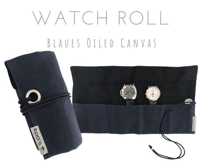 Blue 5-card Watch Roll | Waxed Canvas | Gift for Men | Wristwatches Roller 5 Watches | Travel Watches Case | Watch roll cotton lined
