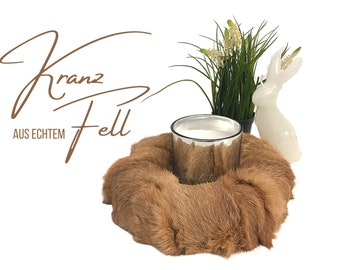 Noble wreath made of real fur | Easter Decoration Wreath | Rabbit | Fur | Fur wreath | Decorative wreath | Home Decoration | Spring decoration | Easter decoration