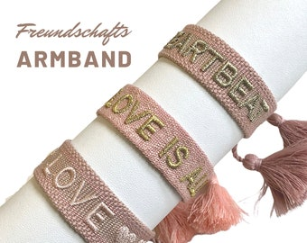 Pink Friendship Bracelet | Webband | knotted woven embroidered bracelet | Ibiza Tassels | Web Bracelet | Boho | Hippie | Lettering Word