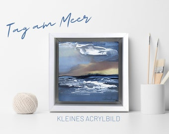 Small acrylic painting | framed original | Day at the sea | white wooden frame | Acrylic paint | art