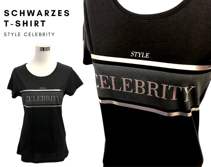 Noble Black T-Shirt | Statement Shirt | black-silver |  Style Celebritiy | Round neck
