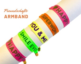 Brightly colored neon bands | Friendship bracelet in bright colors | Statement ribbon with golden ring closure
