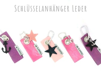Leather keychain with anchor or star | Alu-Karabiner | Flat key ring or heart ring or star ring