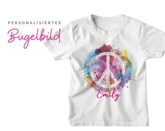 Colorful Peace Sign Ironing Image | by name | personalised | Hippie Handle Patch | Pillow | T-shirt | DIY | Motive for ironing on