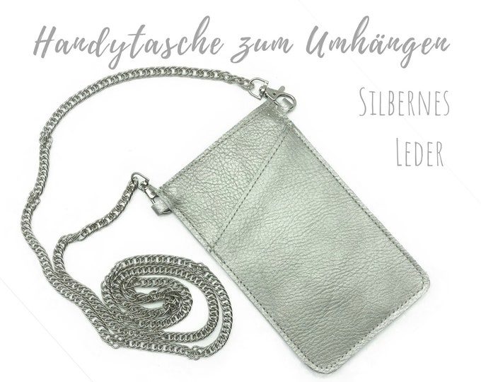 Silver phone case for hanging | Crossbody Phone Case | Thick leather | Leather mobile phone shoulder bag | Mobile Phone Chain | silver | Gift Valentin