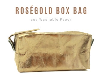 Rosé-gold box bag from Washable Paper | Cosmetic bag