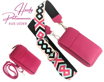 Pink mobile phone wallet | Purse | Purse | Genuine Leather | Shoulder bag | Phone case | narrow or XXL belt with ethnic pattern
