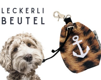 Leo Leckerli Pouch | Anchor | Lining bag | for dogs | with carabiner | internal washable | lined | Pet food | Leopard Leo Look Anchor