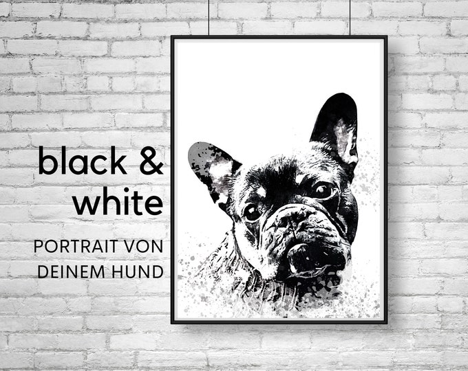 Dogs Portrait   black and white picture   Digital Print in Watercolor Style   User-defined image   Animal portrait after photo   Gift