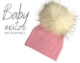 Baby hat | Bommelhat Echtfell | pink or blue | Raccoon Puschel | Fur | First-time hat | Infant | Gift Birth Baptism | Bommel