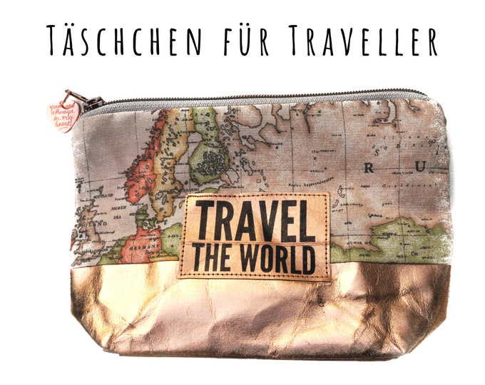 Cosmetic Bag World Card | Roségold | Make-up bag | Travel Etui | Travel Bag | Slamper | Washhable Paper | Gift girlfriend