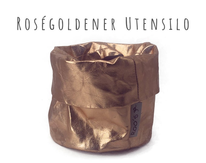 Rose Gold Utensilo Basket   Washable Paper   Planter   Round Paper Bag   washable paper bag   Storage