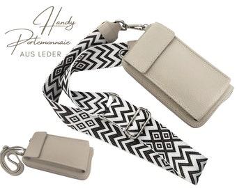 Mobile phone wallet | Purse | Purse | Genuine Leather | Shoulder bag | Phone case | narrowor or XXL belt | Ethno beige putty