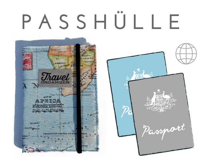 Passport Case | Travel Organizer | World Map | Passport, identity card, driver's license, credit cards business Card | Canvas SNAPPAP