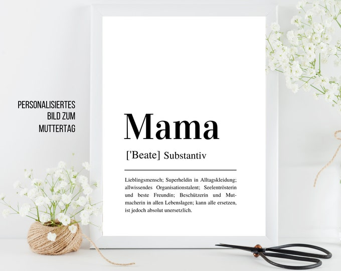 Picture Mother's Day | personalised | Gift for your mom | Definition Of mom as a high-quality digital print