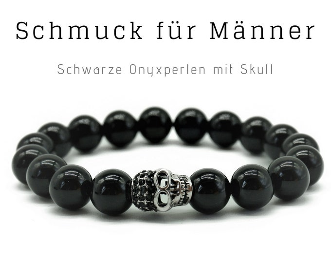 Black Pearl Bracelet | Onyx | Skull | Skull | Male Jewellery | Men'S Bracelet | Gift for Man | Bracelet for Man