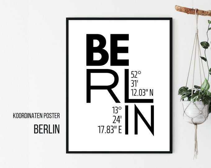 Berlin Design Poster | Coordinates | Digital Print | Typo Image | Gift Berliner | Moving in | Cities Poster City City Map | Skandi Style