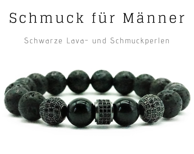 Black Pearl Bracelet | Zirconia Pavé Jewelry Beads | Onyx | Male Jewellery | Men'S Bracelet | Gift for Man | Bracelet for Man